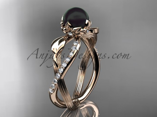 Black Pearl Flower Engagement Ring - Rose Gold Ring ABP70