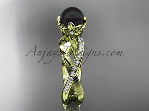 14k Yellow Gold Tahitian Black Pearl Flower and Leaf Engagement Ring ABP70
