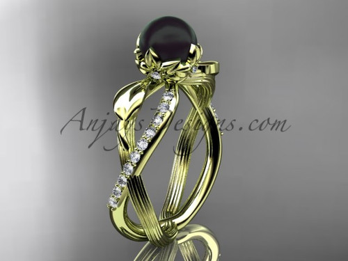 Black Pearl Flower Engagement Ring - Yellow Gold Ring ABP70