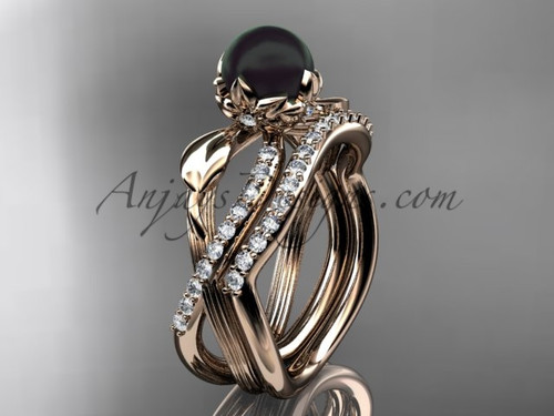 Black Pearl Flower Engagement Ring - Rose Gold Set ABP70S