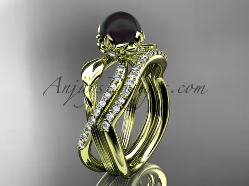 Black Pearl Flower Engagement Set - Yellow Gold Ring ABP70S