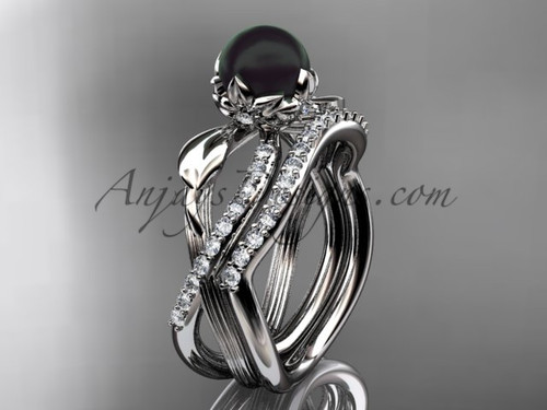 Black Pearl Ring Set - Platinum Flower Wedding Ring ABP70S