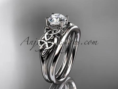 platinum celtic trinity knot wedding ring, engagement set CT7169S