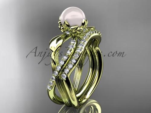White Pearl Flower Wedding Set - Yellow Gold Ring AP70S