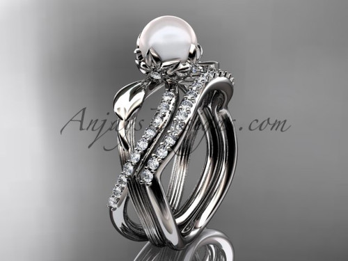 White Pearl Flower & Leaf Ring - Platinum Wedding Set ABP70S