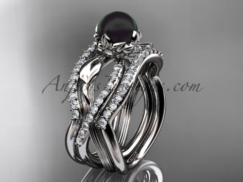 Black Pearl Flower White Gold Wedding Ring Set ABP70S