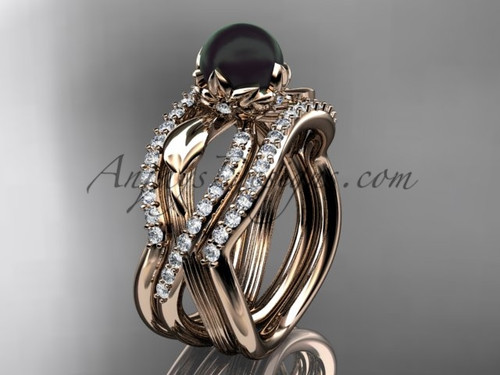 Black Pearl Flower Rose Gold Wedding Ring Set ABP70S