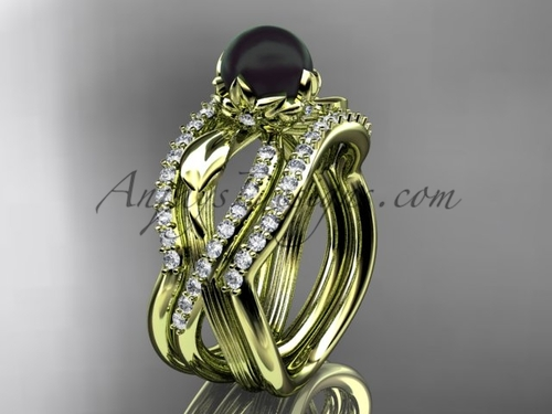 Black Pearl Flower Yellow Gold Wedding Ring Set ABP70S