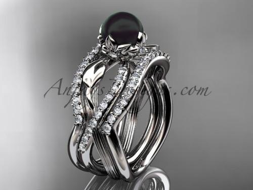 Black Pearl Flower Platinum Wedding Ring Set ABP70S