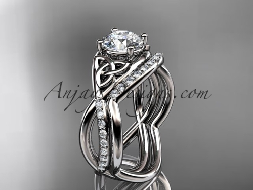 """platinum celtic trinity knot engagement set, wedding ring with a """"Forever One"""" Moissanite center stone CT790S"""
