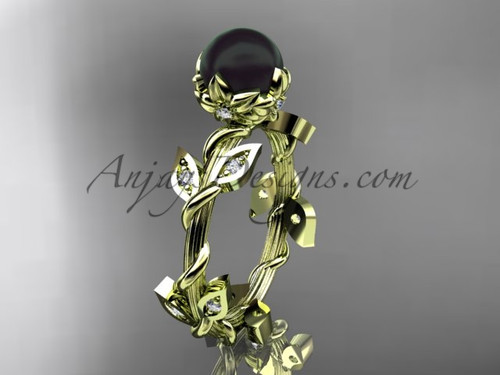 Black Pearl Engagement Ring - Yellow Gold Flower Ring ABP20