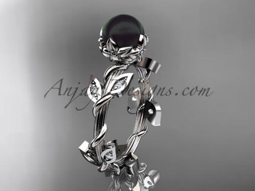 Black Pearl Engagement Ring - Platinum Flower Ring ABP20