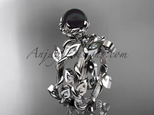 Black Pearl Engagement Set - White Gold Flower Ring ABP20S