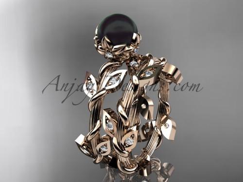 Black Pearl Engagement Set- Rose Gold Flower Ring ABP20S
