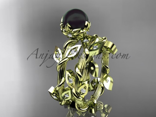 Black Pearl Engagement Set- Yellow Gold Flower Ring ABP20S