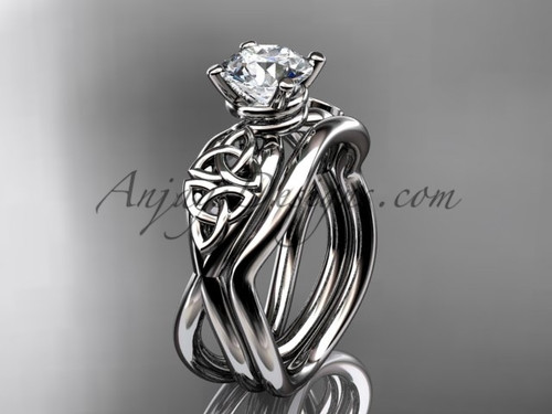 Trinity Celtic Engagement Set - 14kt White Gold Ring CT770S