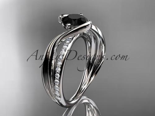 Platinum Black Diamond Wedding Ring, Leaf Bridal Ring ADLR78