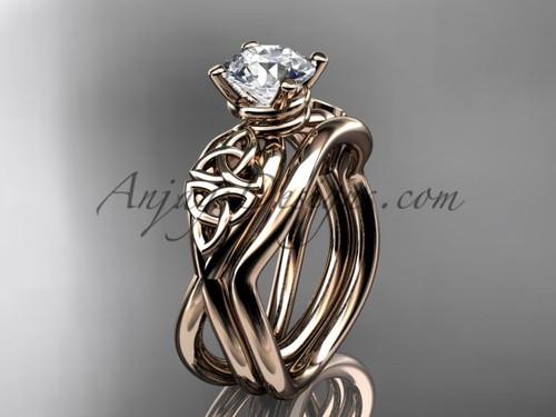 Moissanite Celtic Engagement Set - Rose Gold Ring CT770S