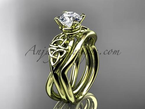 Moissanite Celtic Engagement Set - Yellow Gold Ring CT770S