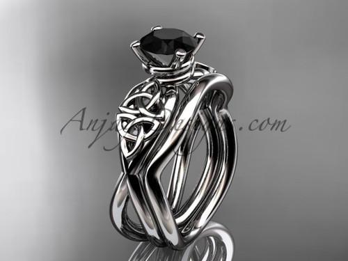 Black Diamond Celtic Wedding Set - White Gold Ring CT770S