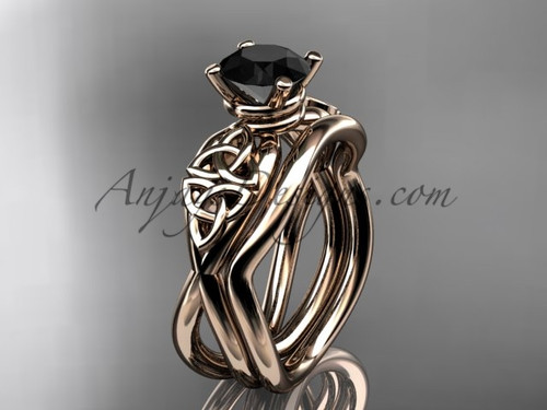 Black Diamond Celtic Wedding Set - Rose Gold Ring CT770S