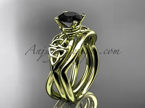 Black Diamond Celtic Wedding Set - Yellow Gold Ring CT770S