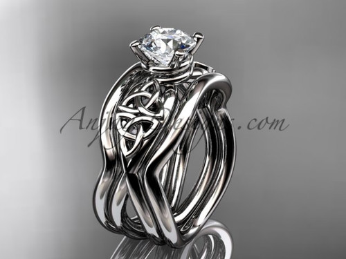 Double Band Engagement Ring - Celtic White Gold Ring CT770S