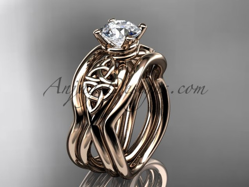 Double Band Engagement Ring - Celtic Rose Gold Ring CT770S