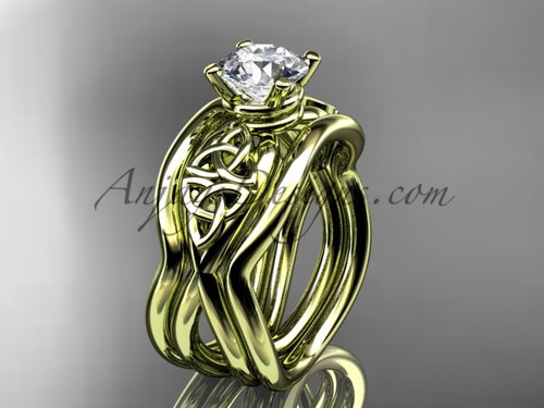 Yellow Gold Moissanite Celtic Double Band Wedding Ring CT770S