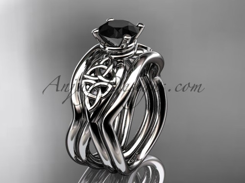 White Gold Black Diamond Celtic  Wedding Ring Set CT770S