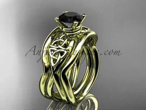 Yellow Gold Black Diamond Celtic  Wedding Ring Set CT770S
