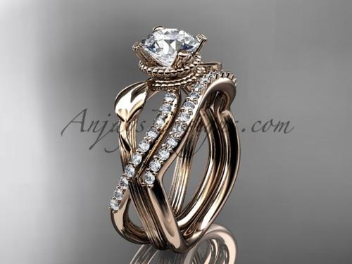 Diamond Rose Gold Flower Bridal Ring Set ADLR70S