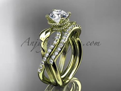 Diamond Yellow Gold Flower Bridal Ring Set ADLR70S