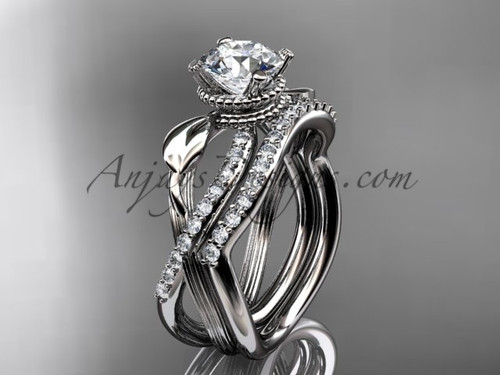 Flower Engagement Set - White Gold Moissanite Ring ADLR70S