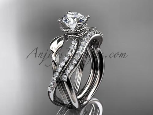 Flower Engagement Set - Platinum Moissanite Ring ADLR70S