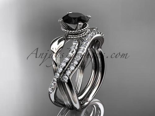 Flower Wedding Set - White Gold Black Diamond Ring ADLR70S