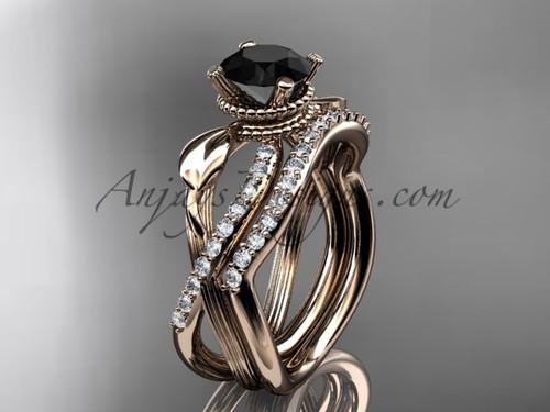 Flower Wedding Set - Rose Gold Black Diamond Ring ADLR70S