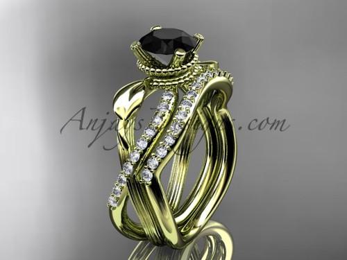 Flower Wedding Set - Yellow Gold Black Diamond Ring ADLR70S