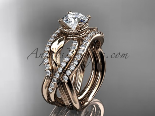 Rose Gold Double Wedding Band with Engagement Ring ADLR70S