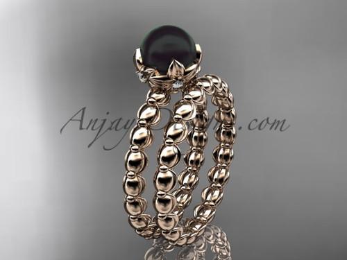 14kt Rose Gold Floral Round Black Pearl Wedding Set ABP34S