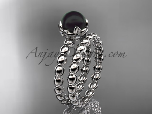Platinum diamond vine round tahitian black cultured pearl engagement set ABP34S