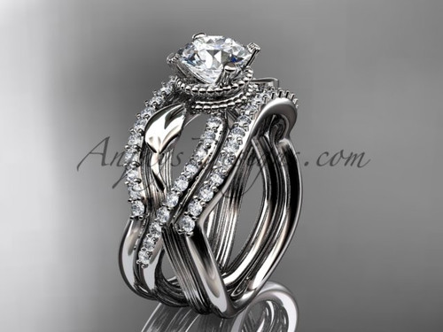 White Gold Double Wedding Band with Engagement Ring ADLR70S