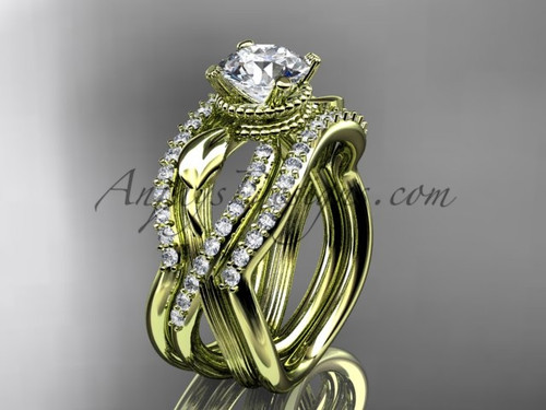 Yellow Gold Double Band with Moissanite Bridal Ring ADLR70S