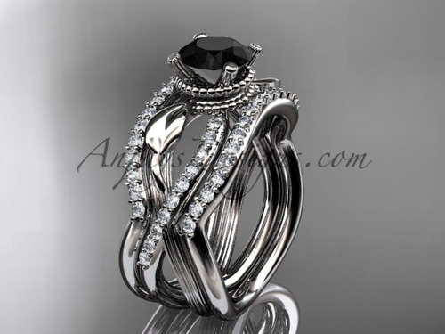 White Gold Double Band with Black Diamond Bridal Ring ADLR70S