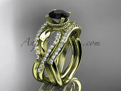 Yellow Gold Double Band with Black Diamond Bridal Ring ADLR70S