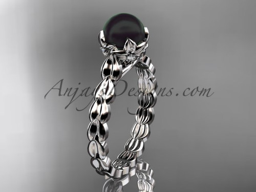White Gold Black Pearl And Diamond Engagement Ring ABP35