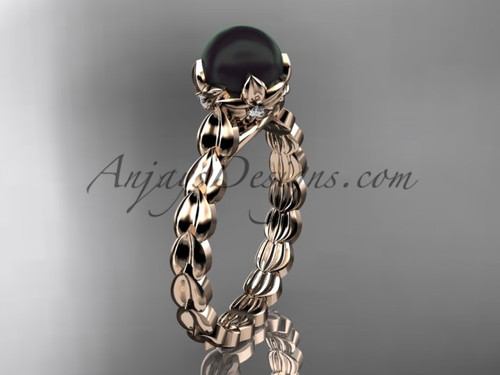 Rose Gold Black Pearl And Diamond Engagement Ring ABP35