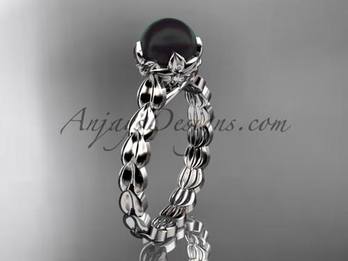 Platinum Round Black Pearl And Diamond Engagement Ring ABP35