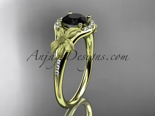 14kt yellow gold diamond leaf and vine wedding ring, engagement ring with a Black Diamond center stone ADLR91