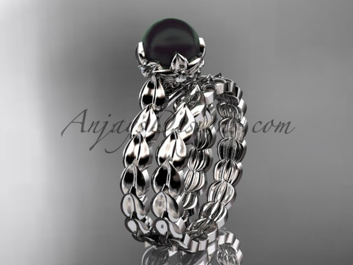 Platinum Flower Black Round Pearl Engagement set ABP35S